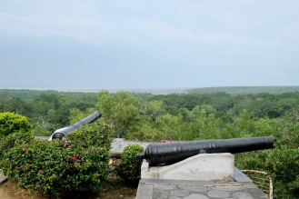 Canons facing sea near Kuala Selangor museum and lighthouse