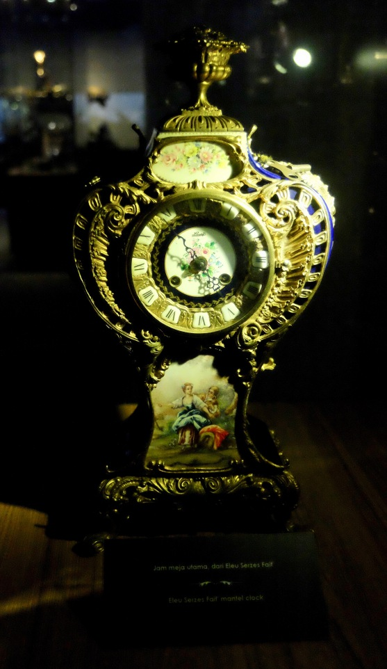 One of the many breath-takingly ornate clocks on display