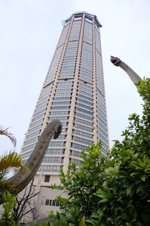 "KOMTAR building, George Town, Penang, with ""Jurassic Research Center"" in foreground"