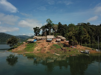 Drone view of Orang Asli village in Royal Belum State Park