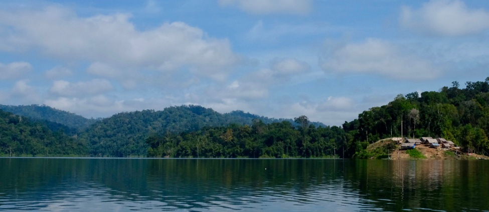 Orang Asli village seen from lake
