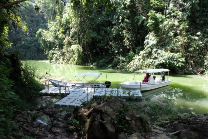 Boat landing pontoons near waterfall