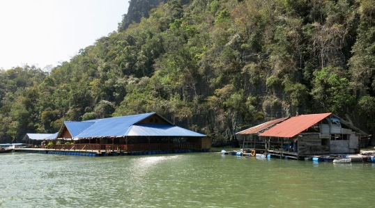 Floating fish farm restaurants