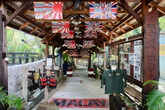 Penang War Museum entrance area with kamakaze harness and legendary Japanese bike