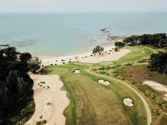 Drone view of Els Desaru Ocean Course