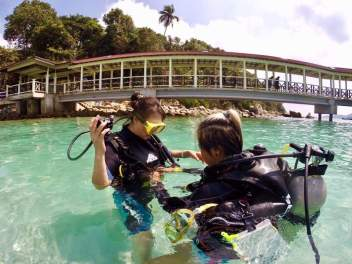 "Diving at Perhentian - photo credit: ""Below The Surface Dive Centre"""