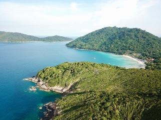Perhentian drone view - Long Beach on right hand side