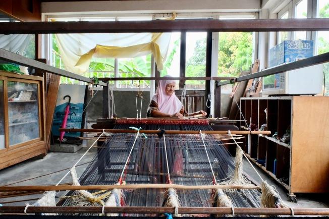 Songket-making - weaver in Cik Minah Songket Pantas Batik - Khota Bharu