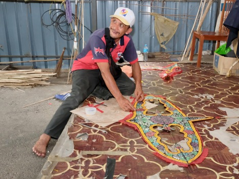 Wau making - a fine art at Pak Sapie Kite Maker Gallery - now run by the son of the deceased famous kite maker.