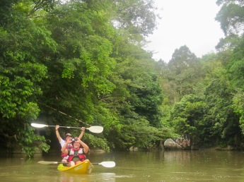 Semadang Kayak - gliding down the river - beautiful rainforest surroundings