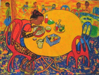 Ron Galimam - Market trader taking lunch, Batik