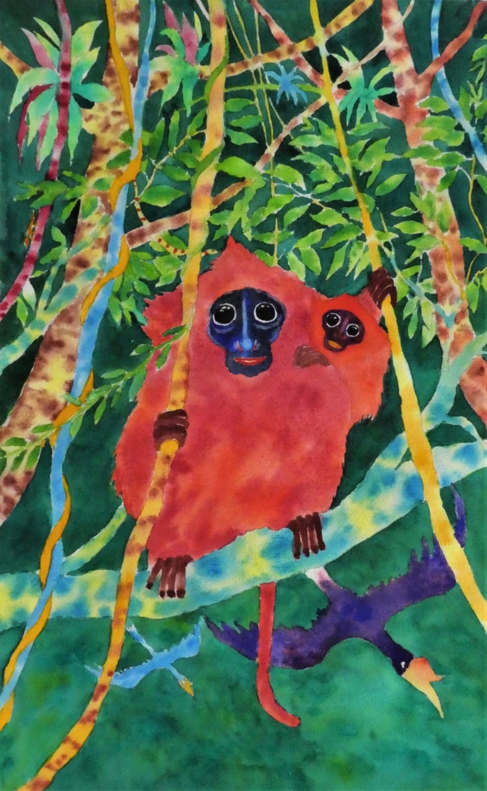 Ron Galimam - Red Leaf monkeys, Watercolour