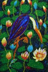 Ron Galimam - Stalking Heron, Batik