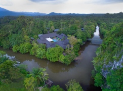 Aerial view: Mulu Marriott admin block, restaurant, ballroom and Melinau river