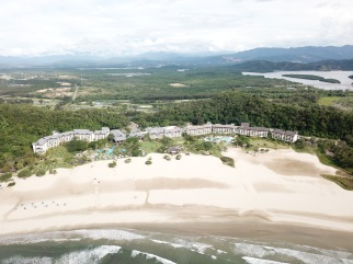 Rasa Ria resort and beach aerial view