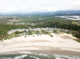 Rasa Ria resort and beach aerial view