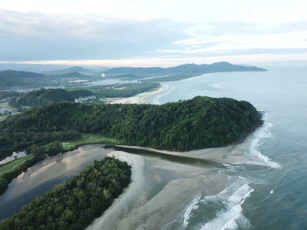 View of beach and lookout point north of Rasa Ria