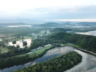 Drone view looking southwards towards Rasa Ria Resort (centre right)