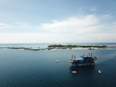 Mabul Island drone view - including Seaventures Dive Resort - an offshore rig transformed into a hotel